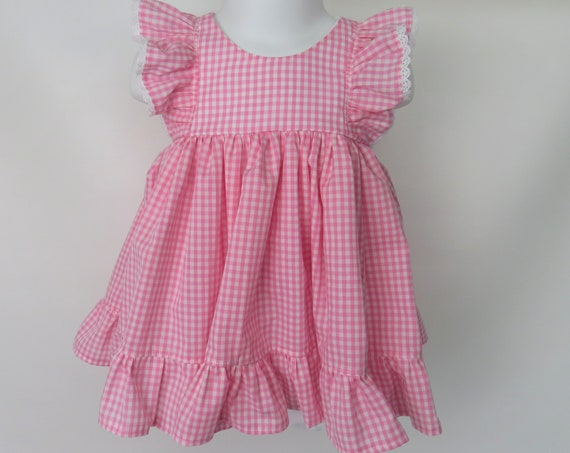 Baby Girl Cotton Dress Set in Bubblegum Gingham