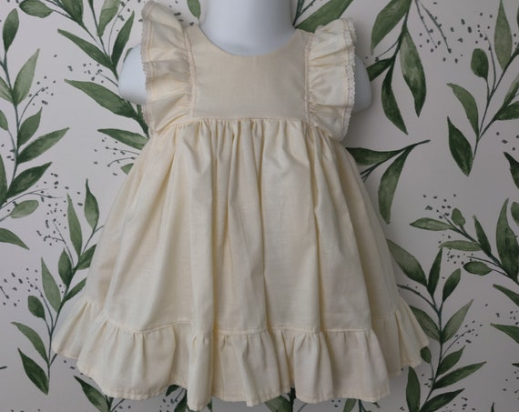 Baby Girl Cotton Dress in Ivory with Lace