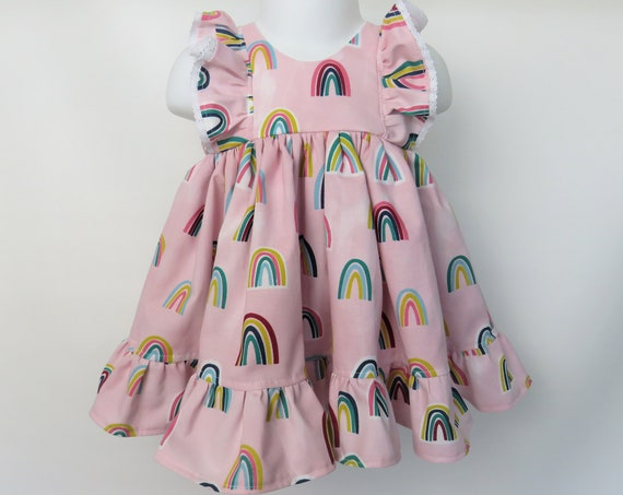 Baby Girl Cotton Dress Set in Pink Rainbows