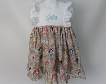 Girls' Cotton Dress in Disney Princess with Personalization