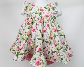 Baby Girl Cotton Dress Set in Pink Poppies