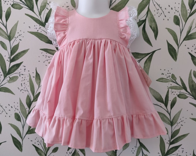 Baby Girl Cotton Dress in Pink with Lace