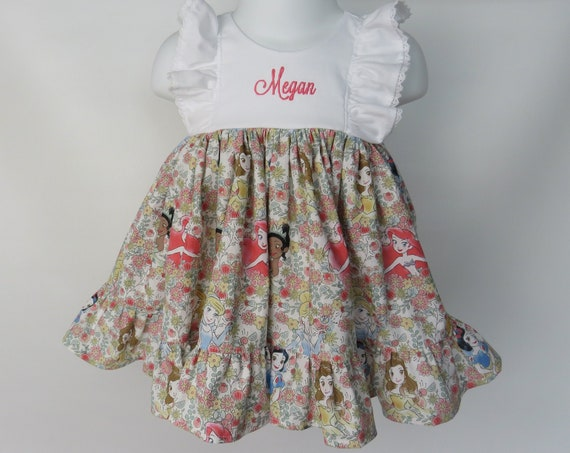 Baby Girl Cotton Dress Set in Disney Princess with Personalization