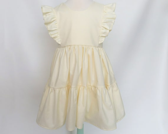 Girls' Tiered Ruffle Dress in Ivory