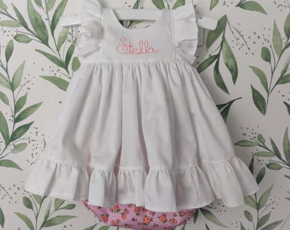 Baby Girl Cotton Dress in White with Pink Rose Bloomer