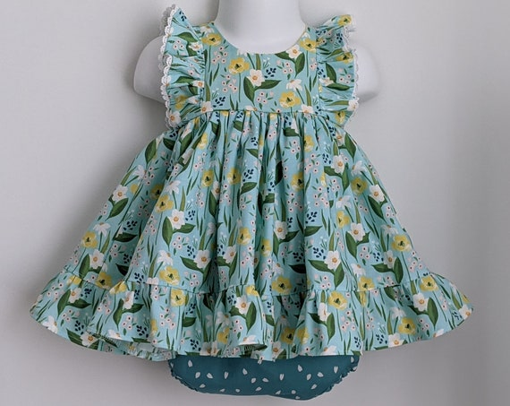 Baby Girl Cotton Dress Set in Blue Poppies