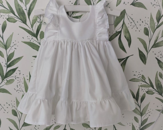 Baby Girl Cotton Dress in White with Lace / Flower Girl Dress