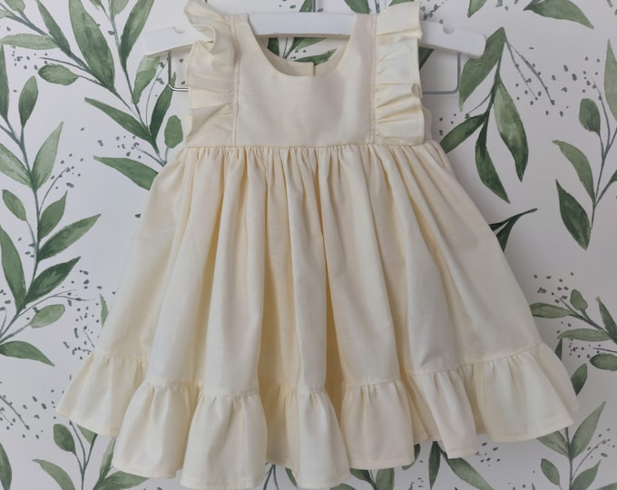Baby Girl Cotton Dress in Ivory