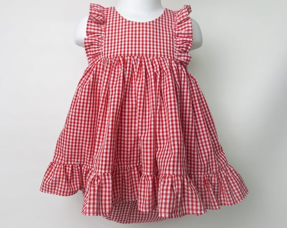 Baby Girl Cotton Dress Set in Red Gingham