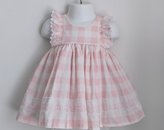Baby Girl Dress and Bloomer Set in Pink Gingham