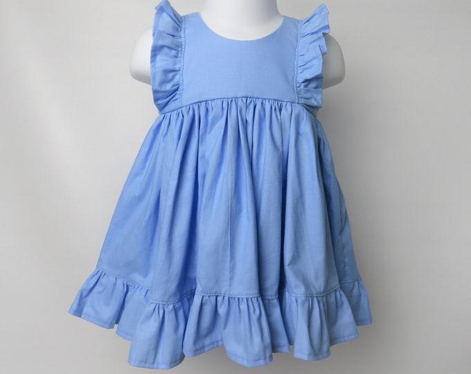Baby Girl Cotton Dress in Baby Blue / Flower Girl Dress