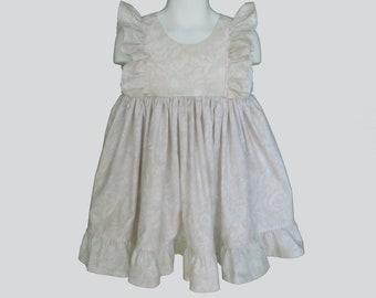 Girls' Cotton Dress in Beige Floral