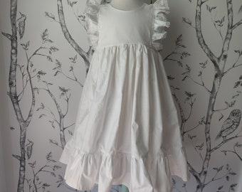 Girls' Cotton Dress in White / Flower Girl Dress