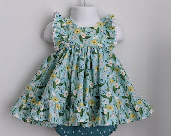 Baby Girl Dress and Bloomer Set in Blue Poppies