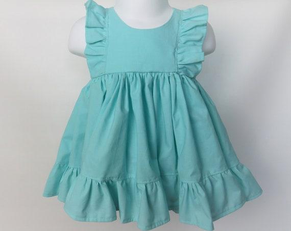 Baby Girl Cotton Dress in Aqua / Flower Girl Dress