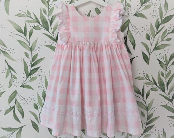 Girls' Pink Gingham Cotton Dress