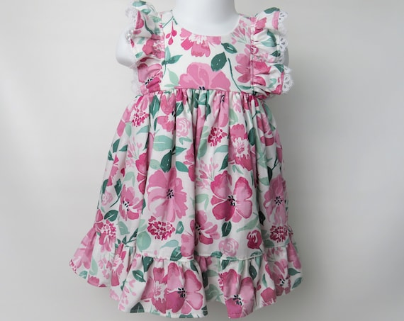 Baby Girl Cotton Dress Set in Pink Floral