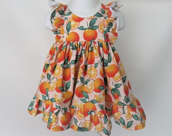 Baby Girl Cotton Dress Set in Pink Oranges