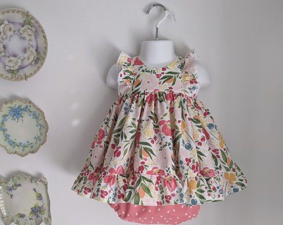 Baby Girl Dress and Bloomer Set in Blossom Fabric