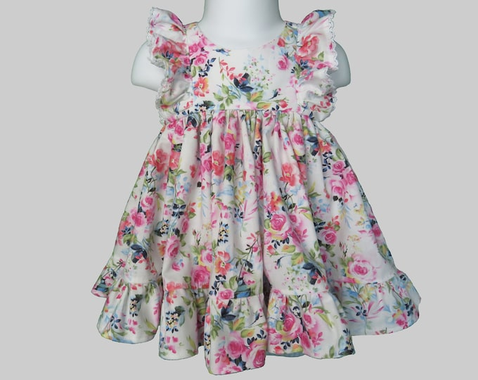 Baby Girl Cotton Dress Set in Rose Floral