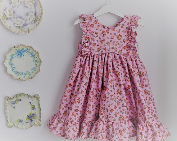 Girls' Dress in Pink Roses