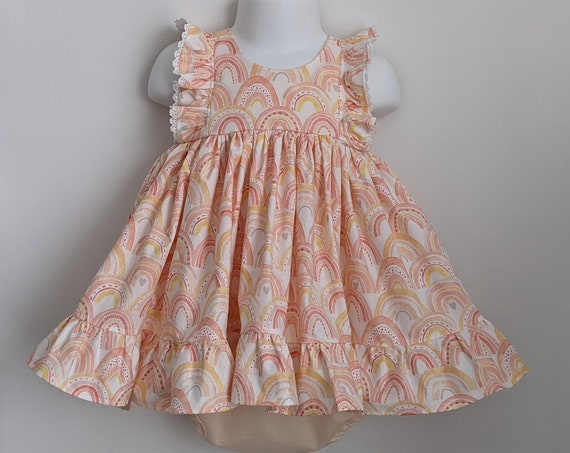 Baby Girl Dress Set in Peach Pink Rainbow
