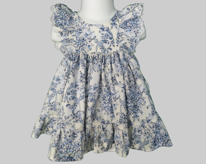 Baby Girl Cotton Dress Set in Blue Floral