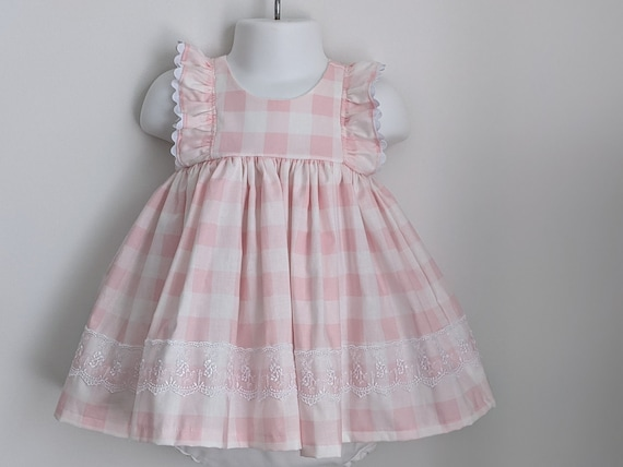 Baby Girl Cotton Dress Set in Pink Gingham
