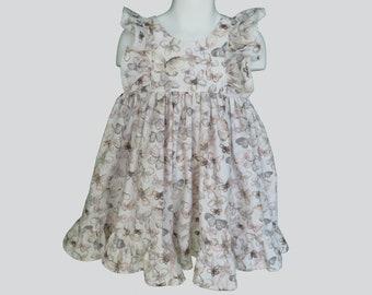 Girls' Cotton Dress in Beige Butterflies