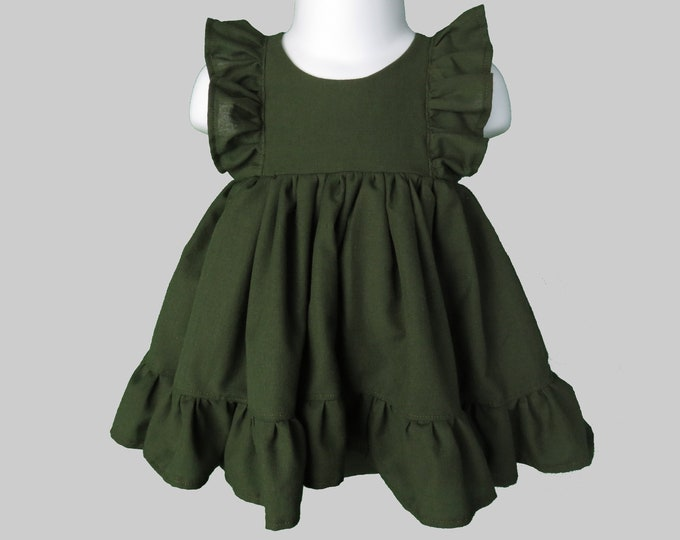Baby Girl Cotton Dress Set in Forest Green