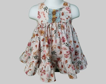 Baby Girl Cotton Dress Set in Fall Floral