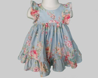 Baby Girl Cotton Dress Set in Shabby Floral