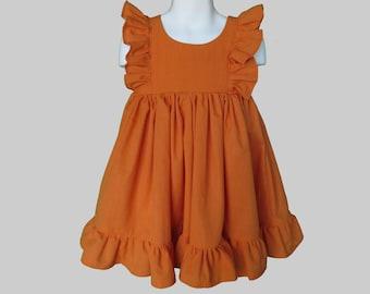 Girls' Cotton Dress in Pumpkin Orange
