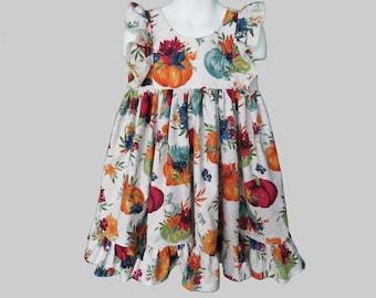 Girls' Cotton Dress in Autumn Pumpkins