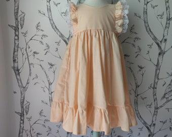 Girls' Cotton Dress in Peach / Flower Girl Dress