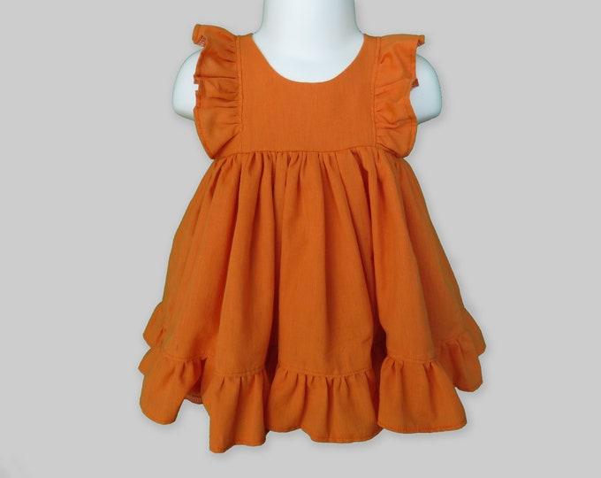 Baby Girl Cotton Dress Set in Pumpkin Orange