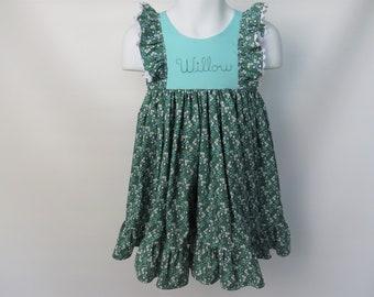 Girls' Cotton Dress in Blue Blossoms / Flower Girl Dress