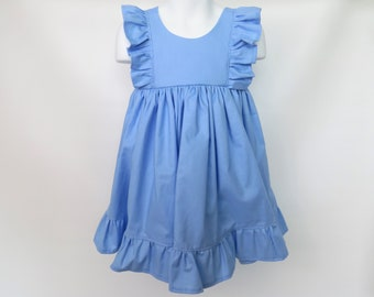 Girls' Cotton Dress in Blue / Flower Girl Dress