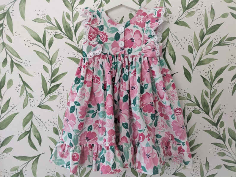 Girls/' Dress in Pink Floral