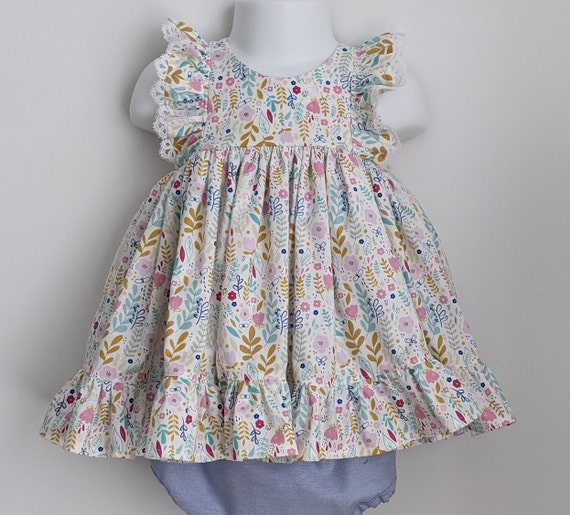 Baby Girl Dress and Bloomer Set in Meadow Flowers