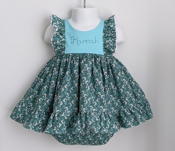 Baby Girl Cotton Dress Set in Blue Blossoms