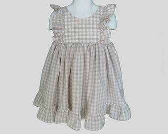 Girls' Cotton Dress in Beige Check
