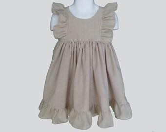 Girls' Cotton Dress in Beige