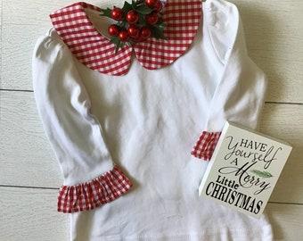 Baby Girl Red Gingham Peter Pan Collar Knit Top