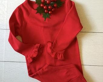 Baby Girl Bodysuit in Red