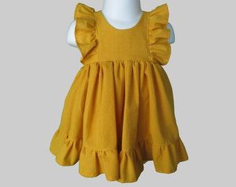 Mustard Ruffle Baby Set