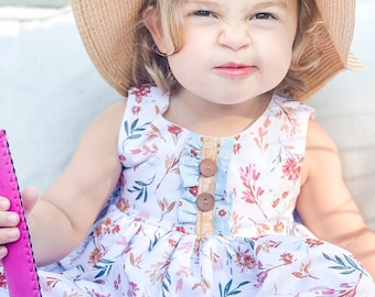 Girls' Cotton Dress in Fall Floral