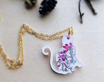 Chain Friendship Best Friend Necklace Cat Pendant Dried Real Flowers Bronze