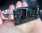 Statement resin bracelet, Lichen terrarium jewelry, Nature bracelets for women, Unique gifts for her, Botanist gift, Boho resin bracelet