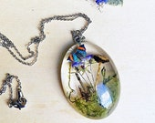 Resin mushroom jewelry, Botanist gift, Big pendant necklace, Butterfly necklace, Statement necklace, Woodland jewelry, Nature jewelry